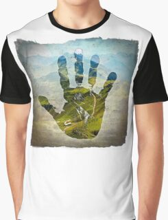 Earth Hand Print Graphic T-Shirt