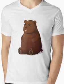 Cute Goofy Stuffed Teddy Brown Bear Mens V-Neck T-Shirt