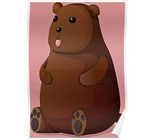 Cute Goofy Stuffed Teddy Brown Bear Poster