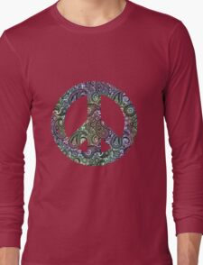Tie-Dye Peace Sign Symbol Long Sleeve T-Shirt