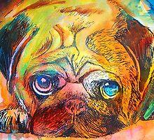 Mr Pug Pop Art  by Emma Kaufmann
