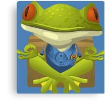 Goofy Little Meditating Green Tree Frog Canvas Print