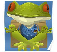 Goofy Little Meditating Green Tree Frog Poster