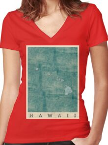 Hawaii State Map Blue Vintage Women's Fitted V-Neck T-Shirt