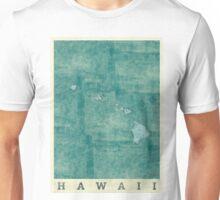 Hawaii State Map Blue Vintage Unisex T-Shirt
