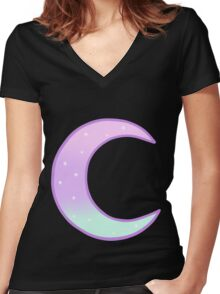 Pastel Moon Women's Fitted V-Neck T-Shirt