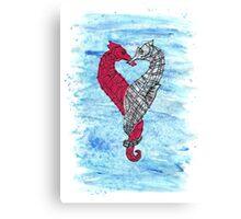 Loveheart Seahorses Canvas Print