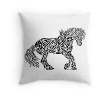 The Friesian - Abstract, Tribal Horse Art Throw Pillow