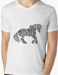 The Friesian - Abstract, Tribal Horse Art Mens V-Neck T-Shirt