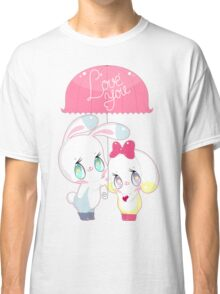 """Little cute bunnies under pink umbrella with words """"LOVE YOU"""" Classic T-Shirt"""