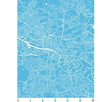 Glasgow map blue Photographic Print
