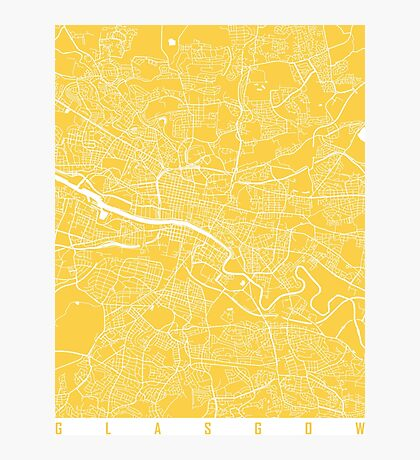 Glasgow map yellow Photographic Print