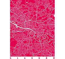 Glasgow map raspberry Photographic Print