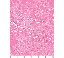 Glasgow map pink Photographic Print