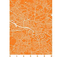 Glasgow map orange Photographic Print