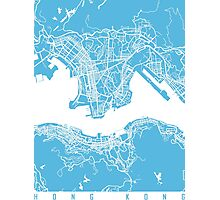 Hong Kong map blue Photographic Print