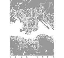 Hong Kong map grey Photographic Print