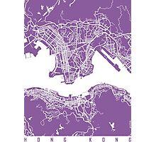 Hong Kong map lilac Photographic Print