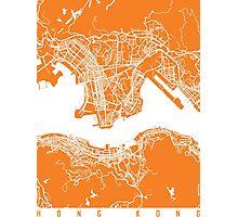 Hong Kong map orange Photographic Print