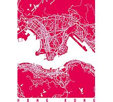 Hong Kong map raspberry Photographic Print