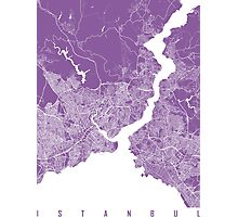 Istanbul map lilac Photographic Print