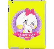 "Cute little bunny gil ""I LOVE YOU"" iPad Case/Skin"