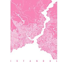 Istanbul map pink Photographic Print