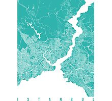 Istanbul map turquoise Photographic Print