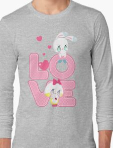 Two cute bunnies on a background of the word LOVE T-Shirt