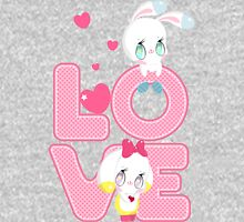 Two cute bunnies on a background of the word LOVE Womens Fitted T-Shirt