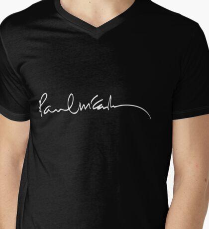 Paul Mccartney autograph Mens V-Neck T-Shirt