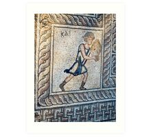 Figure carrying offering, mosaic floor, 5th century AD Early Christian, from basilica, Delphi, Greece (detail) Art Print