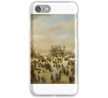 Hendrick Avercamp – private collection. A Panoramic Winter Landscape With a Multitude of Figures on a Frozen River  iPhone Case/Skin