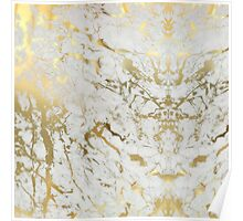 White And Gold Marble Poster