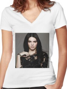 Kendall Jenner Gem Women's Fitted V-Neck T-Shirt