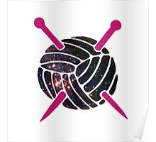 Galaxy Wool with Pink Knitting Needles Poster
