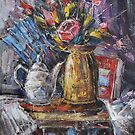 Still Life with teapot and Fan by Stefano Popovski