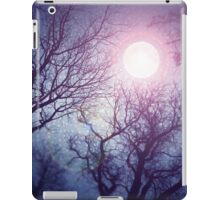 Dark enchanted photo of a full moon in the trees branches background. Blue and violet fairy-tale colors iPad Case/Skin