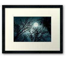Dark enchanted photo of a full moon in the trees branches background. Blue fairy-tale colors Framed Print