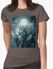 Dark enchanted photo of a full moon in the trees branches background. Blue fairy-tale colors Womens Fitted T-Shirt