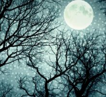 Dark enchanted photo of a full moon in the trees branches background. Blue fairy-tale colors Sticker