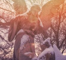 Angel statue illuminated by sunlight. Cemetery during the winter Sticker