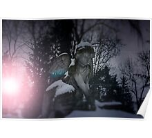 Angel statue illuminated by moonlight. Cemetery during the winter Poster