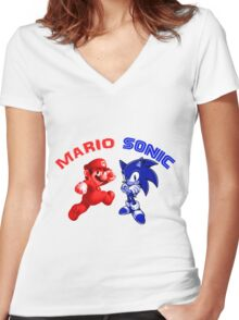 Mario & Sonic, 90's best friends Women's Fitted V-Neck T-Shirt