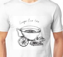 Illustration  cup of tea with lime and ginger. Unisex T-Shirt