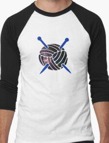 Galaxy Wool with Blue Knitting Needles Men's Baseball ¾ T-Shirt