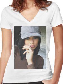 Kylie Jenner Hat 2 Women's Fitted V-Neck T-Shirt
