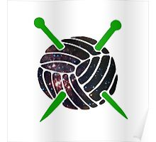 Galaxy Wool with Green Knitting Needles Poster