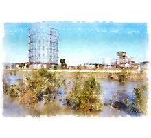 Rome: Tiber River gasometer and industrial archeology Photographic Print