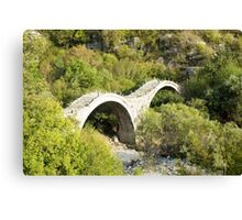 Ancient stone brAncient stone bridge Zagori, Pindus mountains, Epirus, Greece.idge Zagori, Pindus mountains, Epirus, Greece. Canvas Print
